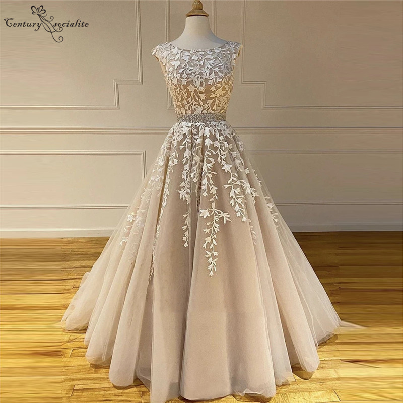 Champagne Wedding Dresses Lace Appliques Beaded Backless A-Line Gorgeous Bridal Gowns Bride Dress Vestido De Noiva Cheap
