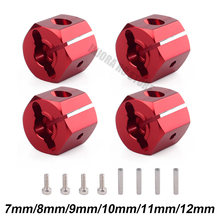 4 stks/set Metalen 12MM Wiel Hex Rood/Zwart Hub voor Axiale SCX10 90046 1:10 RC Crawler 7/ 8/9/10/11/12 dikte(China)
