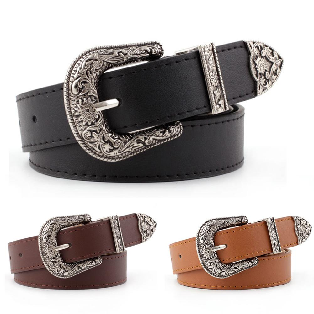 Single Buckle Belt Vintage Metal Boho Carved Fashion Women Leather Waistband