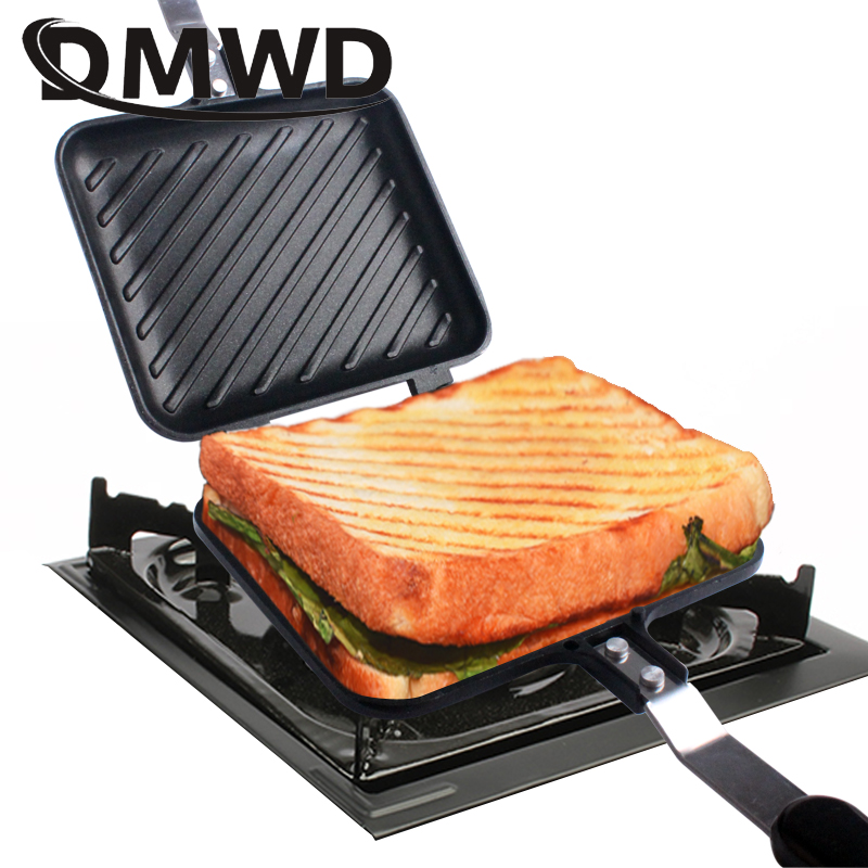 DMWD Gas Non Stick Sandwich Maker Iron Bread Toast Breakfast Machine Waffle Pancake Baking Barbecue Oven Mold Grill Frying Pan