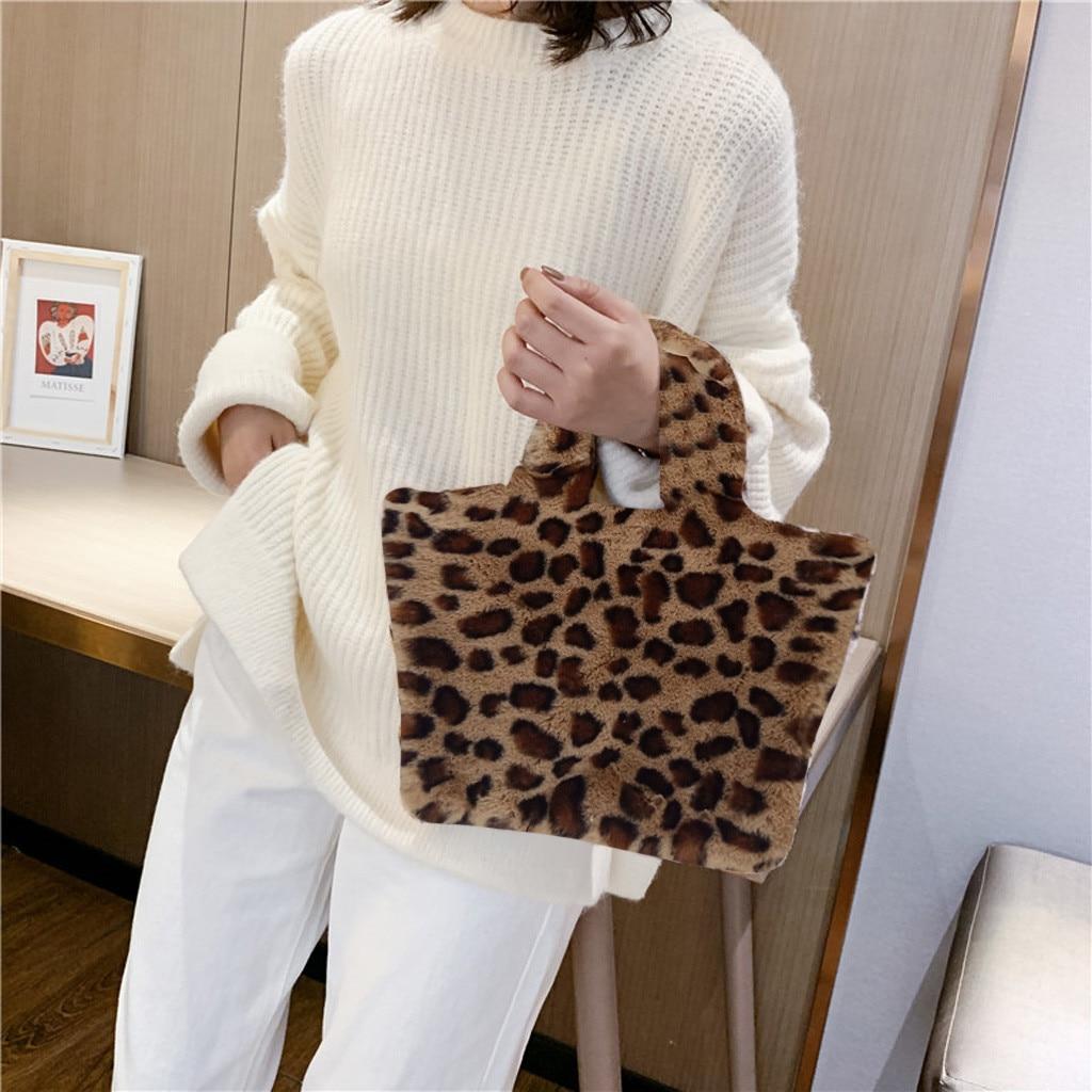 Neue Frauen Plüsch Handtasche Weiche Faux Fur Leopard Print Zebra Muster Frauen Tasche Damen Party Casual Tote Tier Drucke Schulter taschen