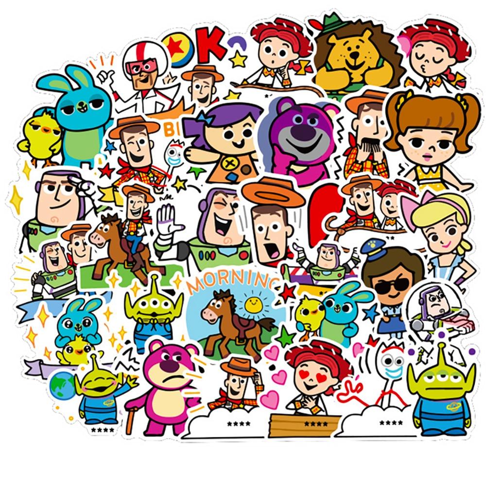 50PCS Toy Story 4 Forky Woody Buzz Lightyear Cartoon Stickers Motorcycle Travel Luggage Guitar Skateboard Joke Kid Toy Stickers