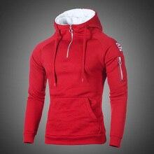 Хип-хоп свитшот на молнии с капюшоном для мужчин Весна Стандартный флаг пуловер, худи с принтом толстовки мужские однотонные уличная одежда красный, черный