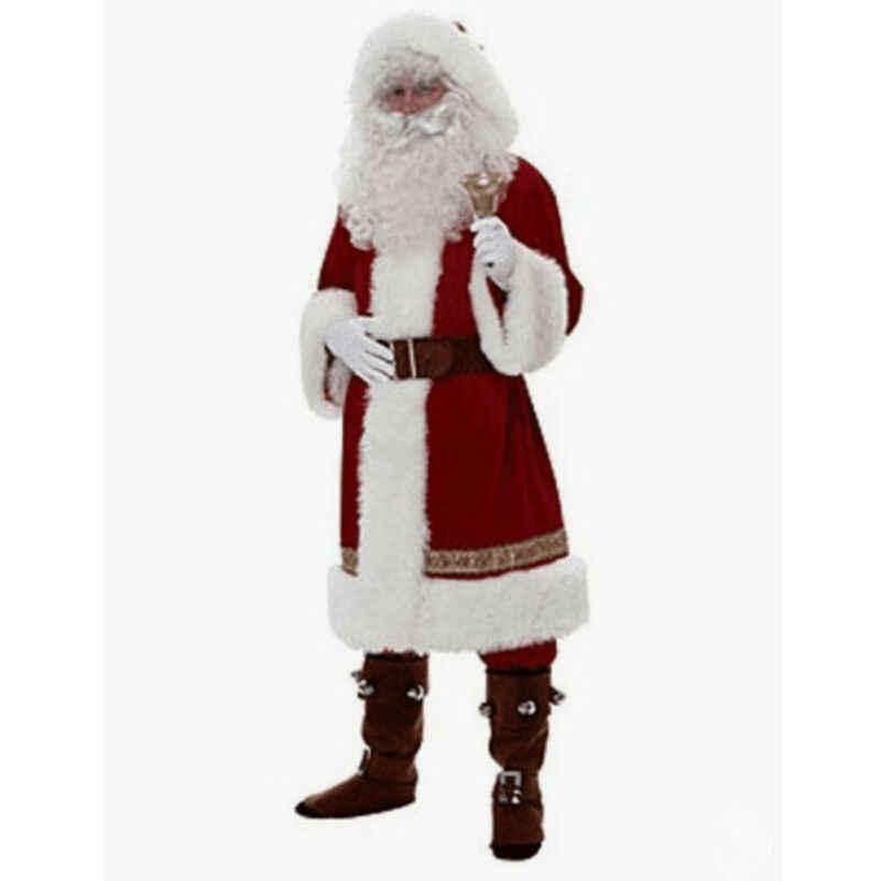 Rusia Orang Dewasa Natal Santa Claus Kostum Santa Claus Pakaian Gaun Mewah 5 Buah/Banyak Kostum Perapi Natal Lebih Tahan Dr