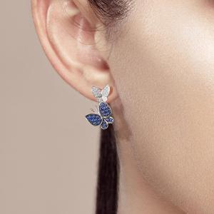 Image 5 - SANTUZZAเงินต่างหูผีเสื้อสำหรับผู้หญิงสีฟ้าสีขาวCubic Zirconiaต่างหูผู้หญิงบริสุทธิ์แท้925