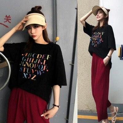 Женский костюм в сеточку красного цвета, лето 2019, новый стиль, корейский стиль, принт с буквами, футболка с короткими рукавами +