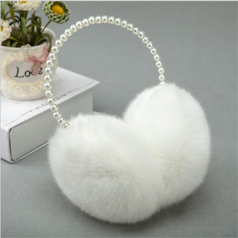 Ladies Pearl Winter Earmuffs Women Elegant Fur Earmuff Girls Imitation Rabbit Plush Soft Warm Ear Muff Ear Hair Accessories