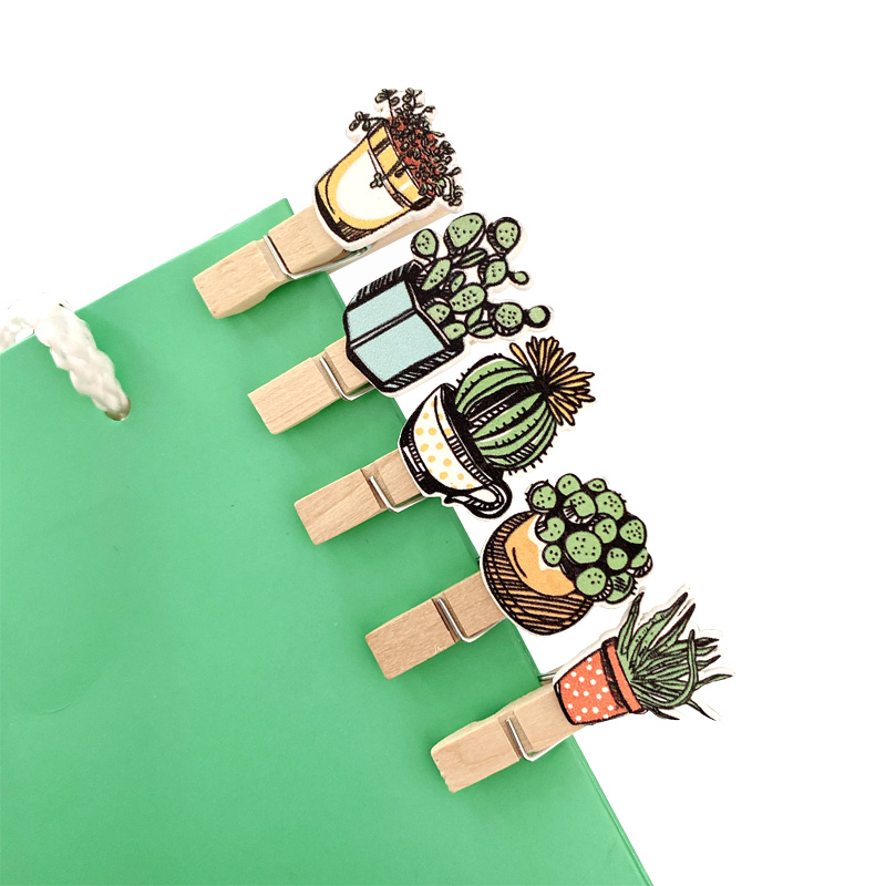 10pcs/lot Cute Potted Cactus Mini  Wooden Paper Clips Bookmark For Album Memo Message Photo Clip With Rope Stationery Gifts