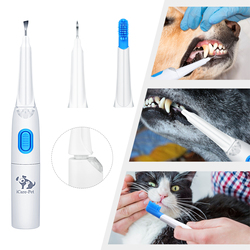 Dog Toothbrush Pet Ultrasonic Dental Calculus Remover with 3 Tools for Home or Clinic Dog Electric Toothbrush