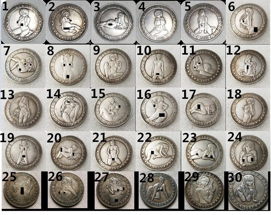 Сексуальная девушка моргановский доллар Хобо копия из никеля монеты