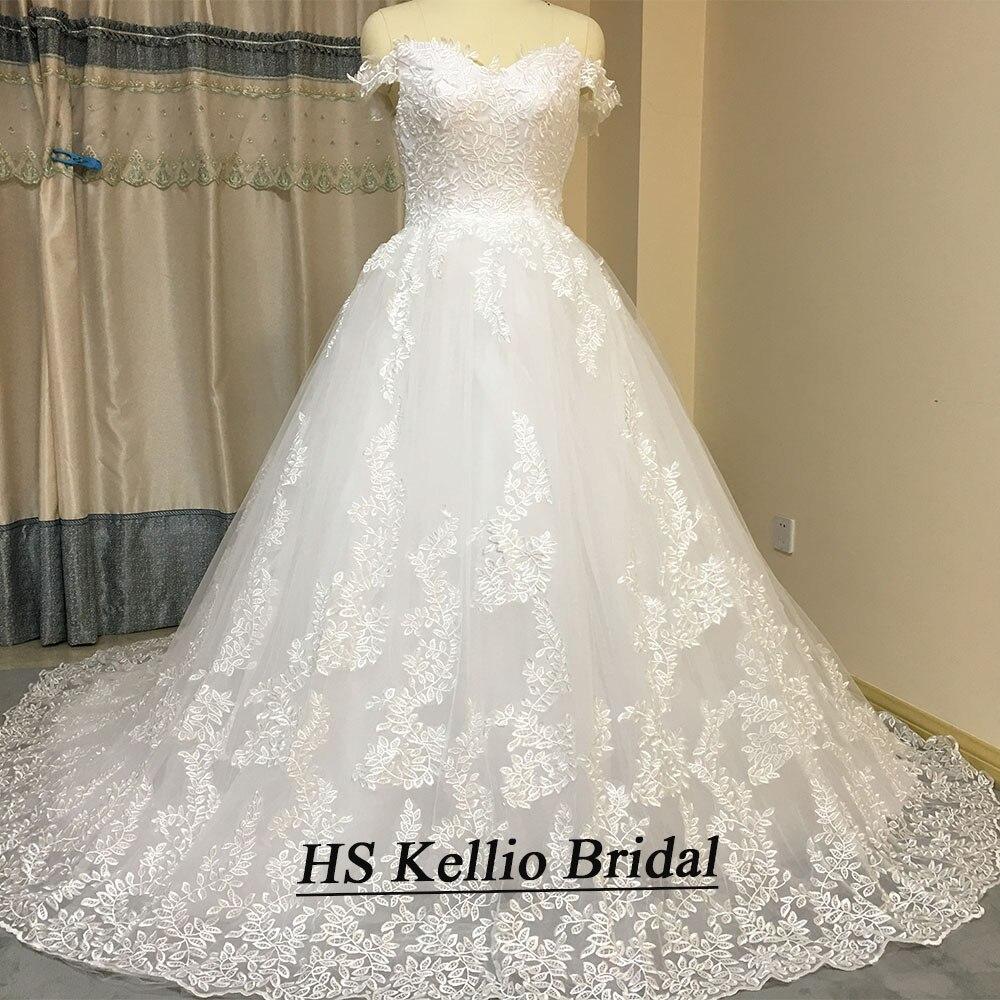 Image 4 - ウェディングドレスリアルサンプルレースアップリケ夜会服のウェディングドレスと 1 メートルの尾 -    グループ上の ウェディング