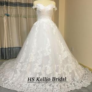 Image 4 - חתונת שמלת מדגם אמיתי תחרה אפליקציות כדור שמלת כלה שמלה עם 1 m זנב