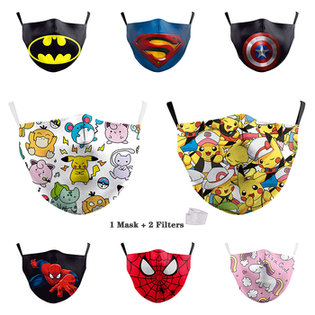Cartoon Digital Printing Reusable Face Masks Adjustable Child Mask PM2.5 Filter Dust Proof Mouth Cover Washable Fabric Mask