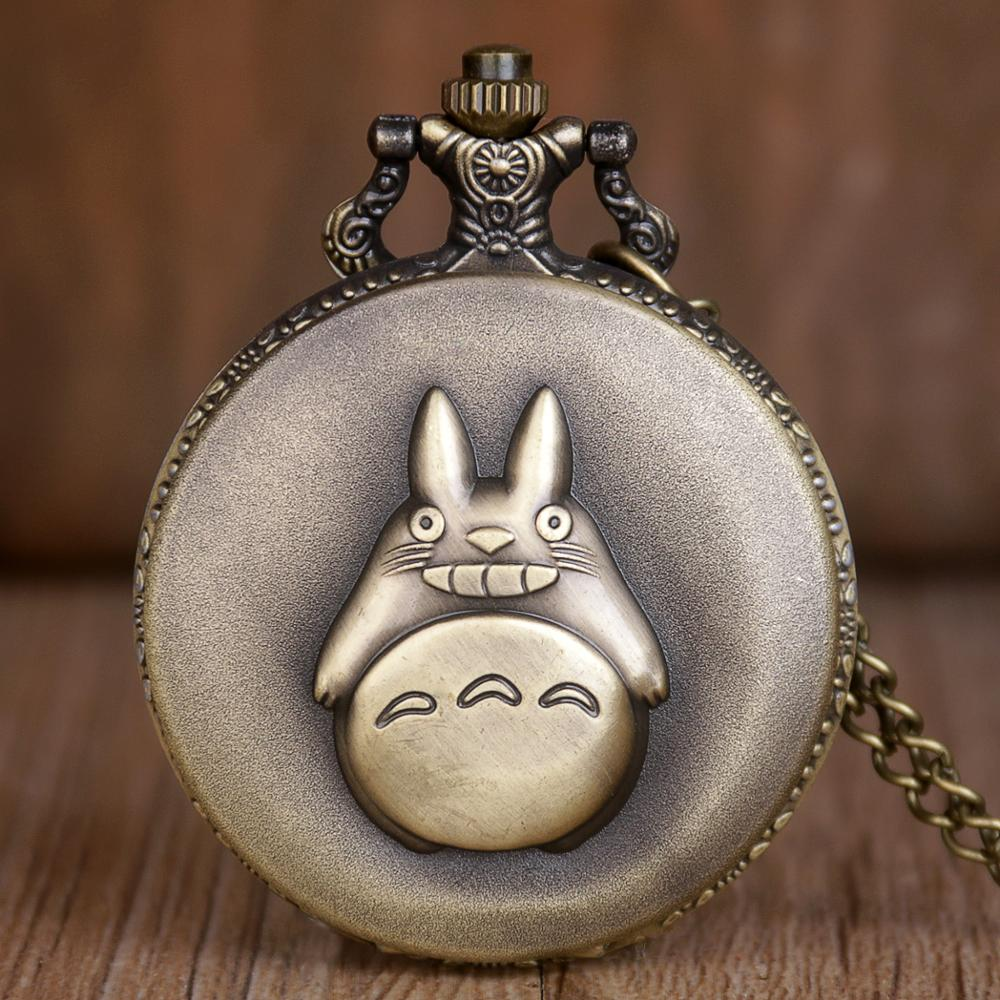 Top Brand Bronze Totoro Design Pocket Watches Men Quartz Pocket Watches With Necklace Chain For Men Women Children Best Gifts