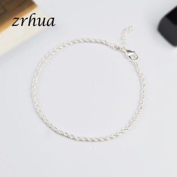 Romantic Twisted chain 925 Sterling Silver Bracelets & Bangles Adjustable Women Charm Anklets Jewelry Gifts Gold Color Bijoux