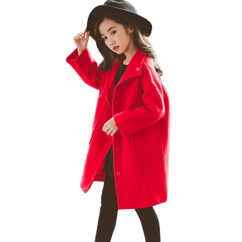 Mode nouveau 2019 automne hiver vestes pour filles manteau en laine Long vêtements d'extérieur pour enfant grande poche enfants pardessus âge 8 10 12 14 16