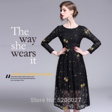2019 autumn new fashion hollow out long sleeves entry lux women elegant lace embroidery O- neck long dress women party dress vin ladylike style solid color scoop neck lace long sleeves slimming burnt out dress for women
