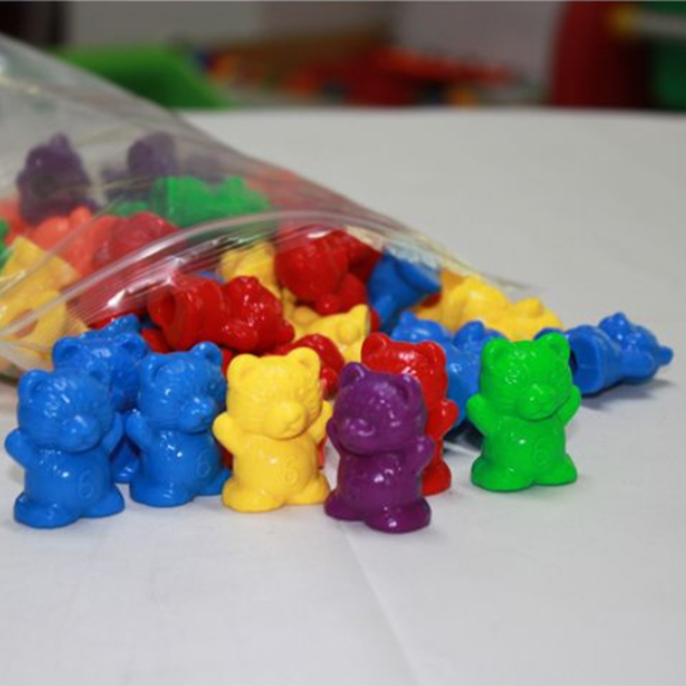60pcs Bear Shape Weight With Scale Mark Science Education Toy Professional Kindergarten Experiment Math Color Teaching Aid