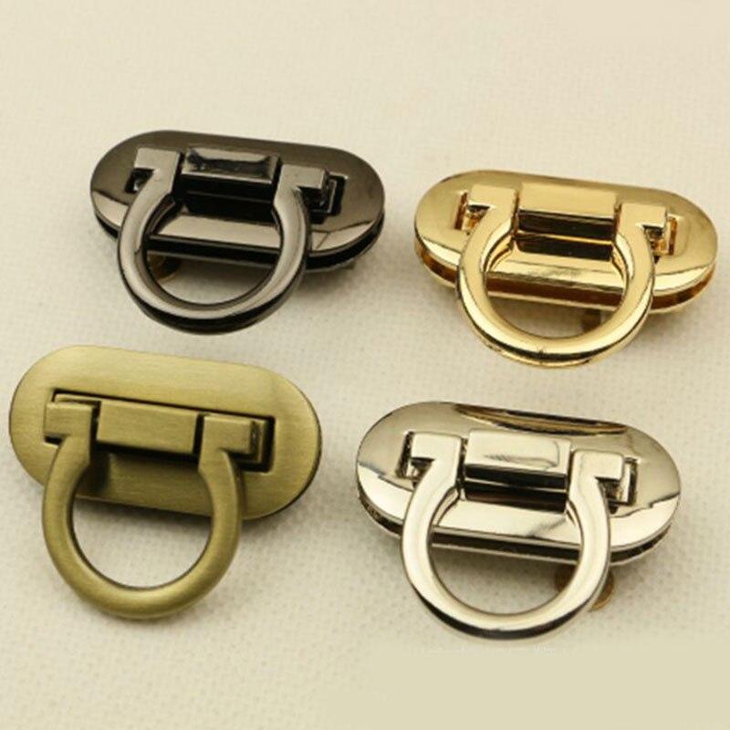 Quality Oval Bag Lock Metal Clasp Turn Lock Twist Locks For DIY Handbag Craft Bag Hardware Accessories For Bag Gold Silver Black