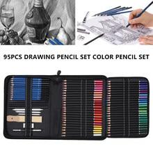 Ensemble de crayons de couleur pour dessin, 95 pièces, pour croquis, aquarelle, métallique, huile, Kit complet pour débutants, fournitures d'art avec