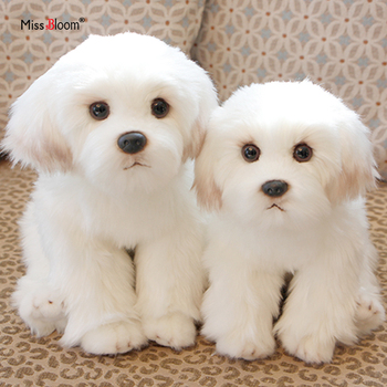 Bichon Frise Puppy Stuffed Animal Dog Plush Toy Cute Simulation Pets Fluffy Baby Dolls Birthday Gifts for Children Dropshipping cute sharpei with hat plush toy stuffed puppy cosplay pet toy plush animal toy children kids birthday christmas gifts