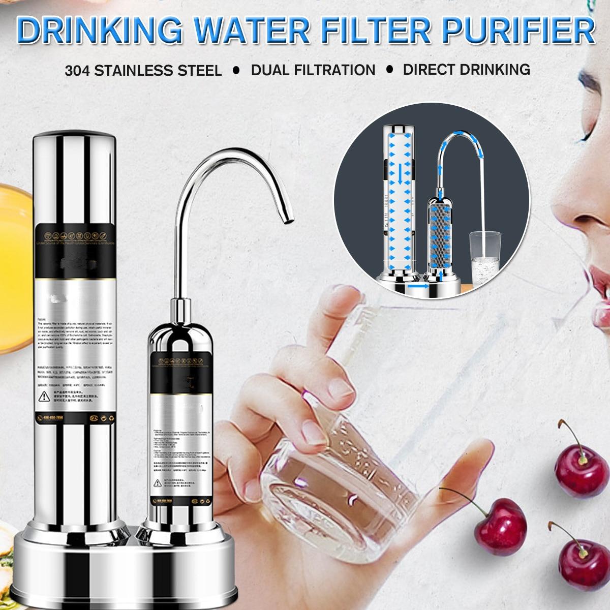 Acier inoxydable purificateur d'eau cuisine robinet lavable en céramique percolateur Mini eau rouille bactéries enlèvement filtre de remplacement
