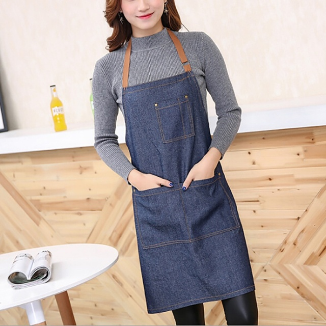 100% cotton Hot Antifouling Aprons Unisex Uniform Denim Cowboy Simple Chef Cooking Aprons for Women  Kitchen Apron 1