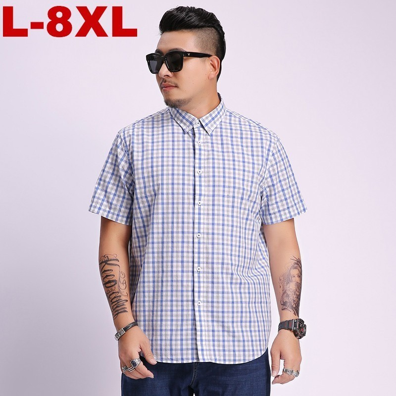 2020 New Plus Large Size 4xl 5xl 6xl 7xl 8xl Men's Short Sleeve Shirts Casual Work Brand Men Plaid Shirts Shirt Men Youth Cotton