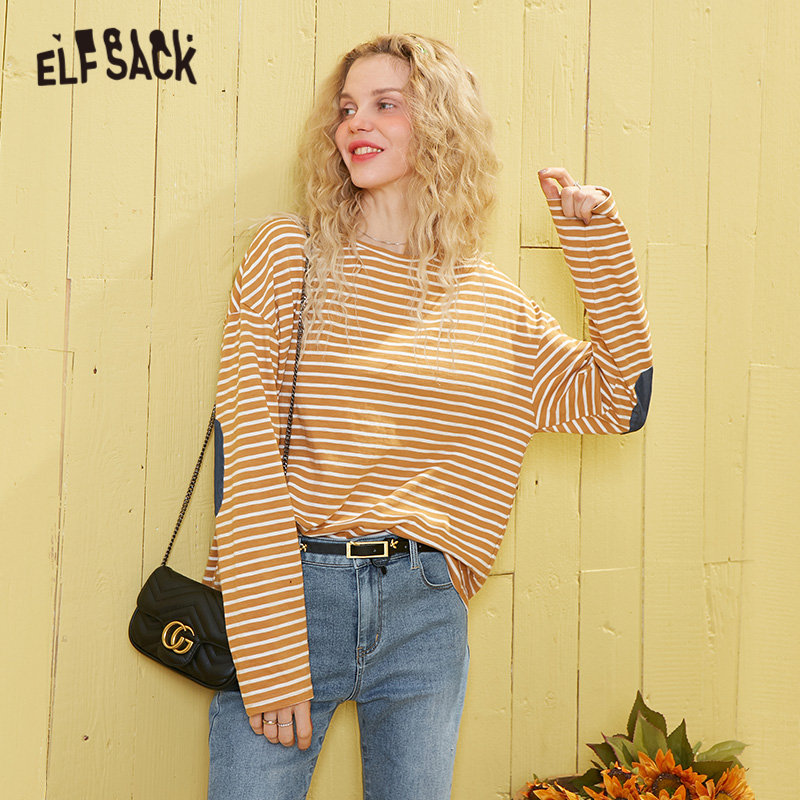 ELFSACK Yellow Striped Women Loose Casual T Shirts 2020 Spring New Black Patchwork Long Sleeve Korean Style Ladies Basic Top