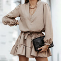 Spring new European and American women's 2021 dress trendy Pullover solid color sexy V-Neck long sleeve lace up skirt