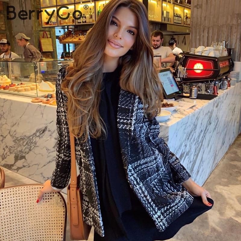 BerryGo Vintage Plaid Women Blazer Coat Streetwear Ladies Blazer Jackets Long Sleeve V Neck Buttons Autumn Winter Female Blazers