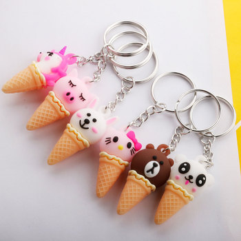 Creative Cartoon Animal Ice Cream Keychain Cute Unicorn Sweet Cone Bag Pendant Gift