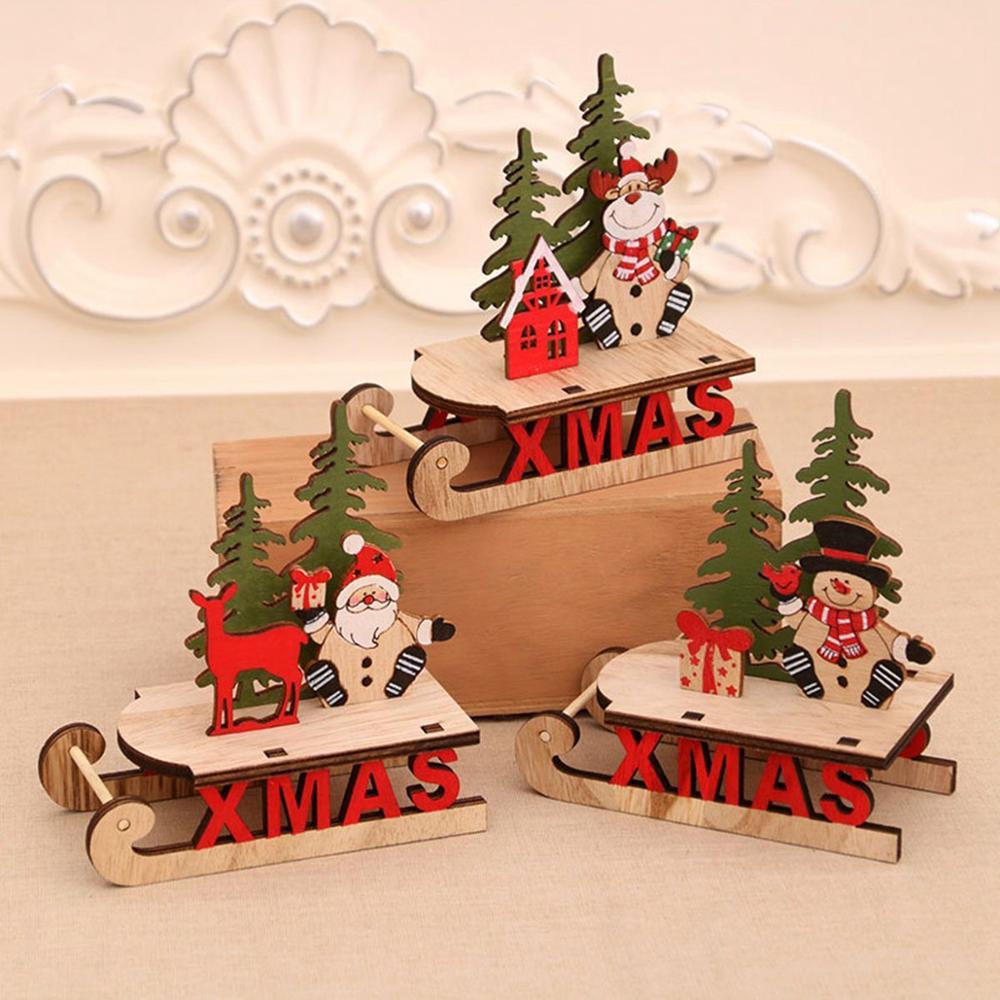 Санта-Клаус Снеговик деревянные сани украшения 2020 рождественские украшения для дома рождественские украшения стола Navidad Natal Noel