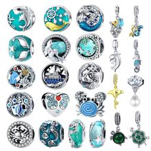 INBEAUT Original S925 Sterling Silver fit Pandora Bracelet Ocean Fish Crab Mermaid Shell Beads Blue CZ Pearl Turtle Shark Charms(China)