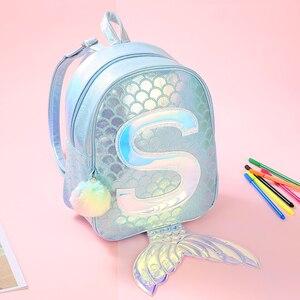 Image 2 - סימפוניה בת ים לייזר תרמיל 3D דגים בקנה מידה אישיות אופנה תרמיל חמוד ילדה ילד קריקטורה בית הספר קטן תיק GB17