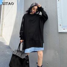 XITAO-Sudadera de dos tonos a la moda para mujer, Jersey plisado de manga larga, estilo informal, para otoño, XJ5319, 2020