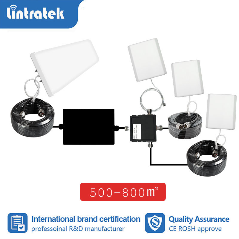 Lintratek Antenna Full Set LPDA Outdoor Pannel Indoor 3 Antenna Expand Coverage For Signal Booster Repeater 2g 3g 4g 10m 5m  S8