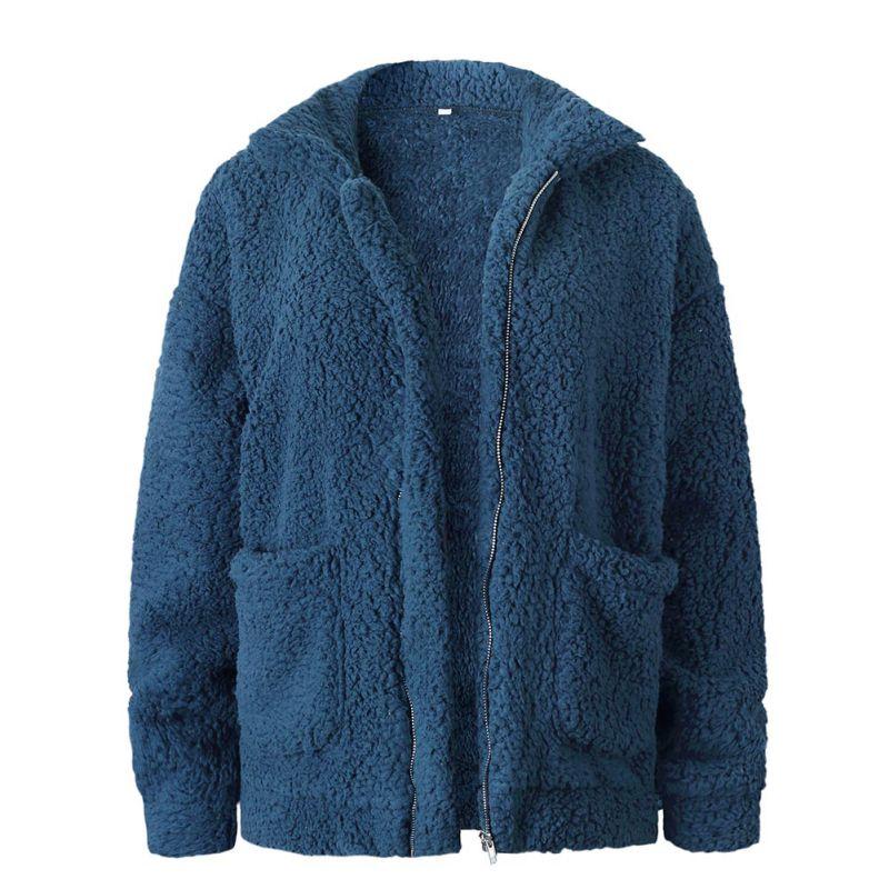 Elegant Faux Fur Coat Women 18 Autumn Winter Warm Soft Zipper Fur Jacket Female Plush Overcoat Pocket Casual Teddy Outwear 30