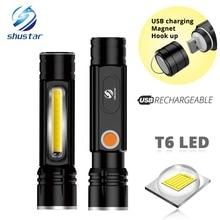 Linterna LED multifuncional con batería recargable por USB, potente linterna lateral T6 con diseño de luz COB, luz trasera magnética