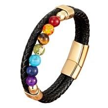Natural Round Chakra Bead Stone Men's Bracelet Classic Black Genuine Leather Stainless Steel Bangles Women 2020 Fashion Jewelry