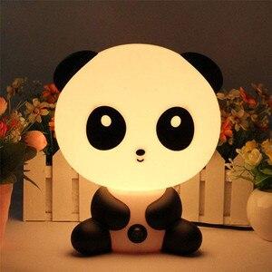 Image 3 - 만화 동물 야간 조명 귀여운 곰 팬더 개 테이블 책상 램프 키즈 아기 잠자는 램프 침실 머리맡의 휴일 선물