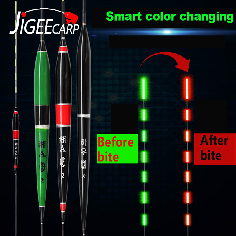 JIGEECARP 1 PC Fish Bite Alarm Color Change Luminous Electronic Float Bright Night Carp Fishing Electronic Float Accessories