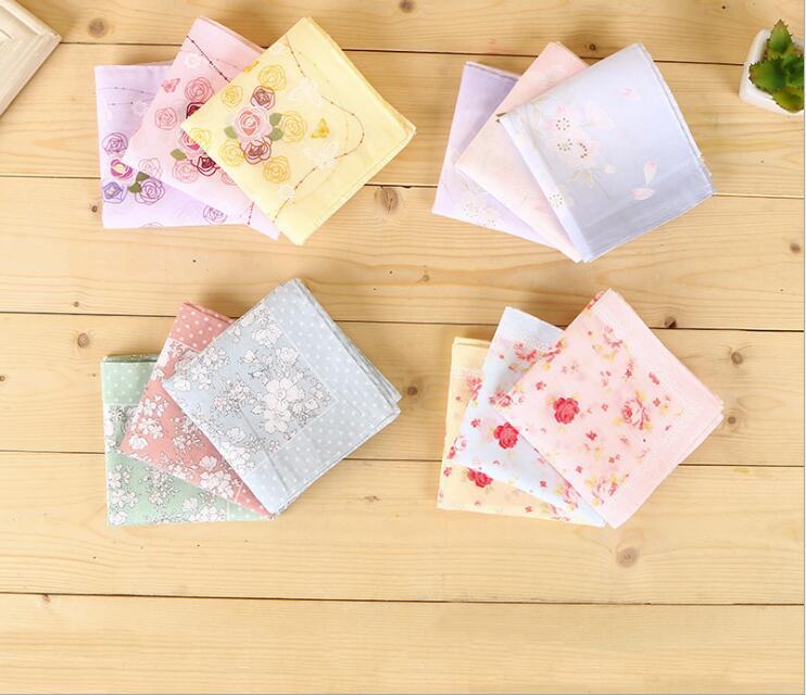 45*45Handkerchief Women Cotton Colorful Printing Flower Pocket Square Girls Casual Streak Square Pockets Hankerchief