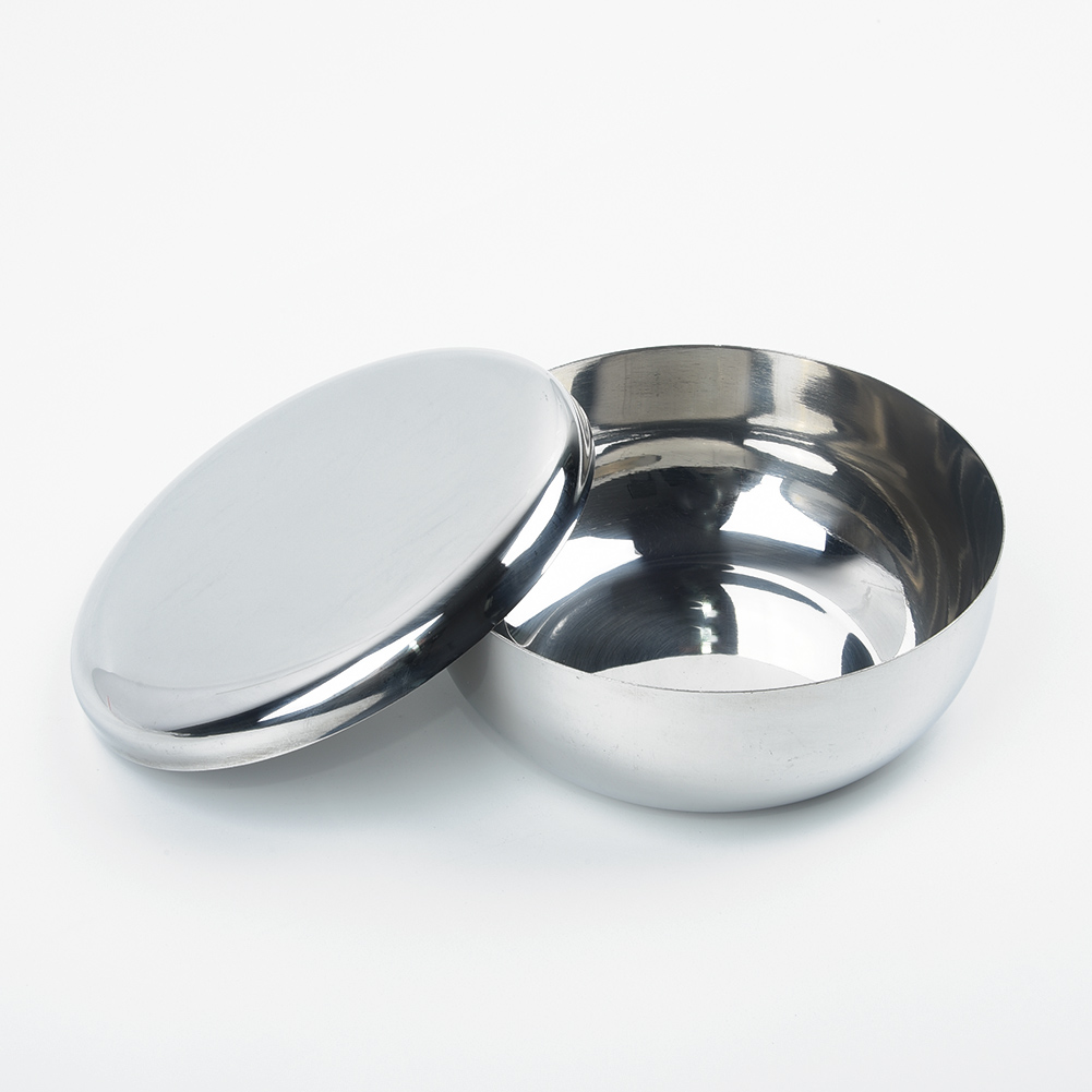 4.5cm Korean Stainless Steel Rice Dish Traditional Bowl W// Lid Home Accessories
