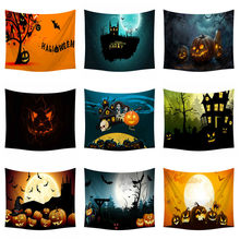 Halloween Skull Tapestry Wall Hanging Pumpkins Tree Print Bed Sheet Black Modern Bedclothes Beach Mat Home Decoration 150x200cm(China)