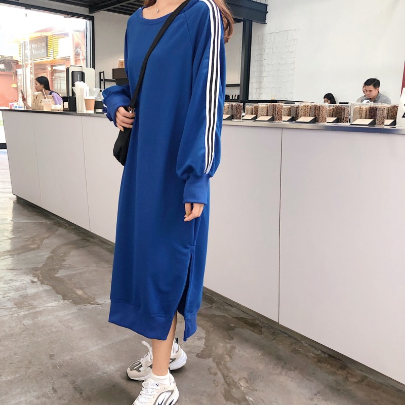 Women Autumn Long Hoody Dress Straight Long Sleeve Striped Loose Oversized Casual Split Femme Clothes