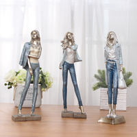 Fashion Girl In Denim Jacket With A Handbag Statue Home Decor Crafts Room Objects Character Office Resin Figurines Wedding Gifts