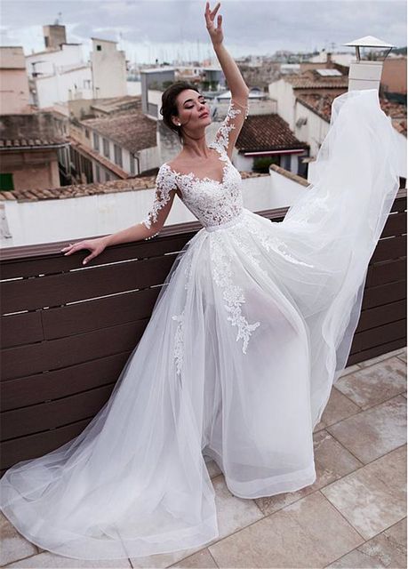 Marvelous Jewel Neckline 2 In 1 Wedding Dresses With Detachable Skirt Lace Appliques 3/4 Sleeves Two Pieces Bridal Gowns 2021 2