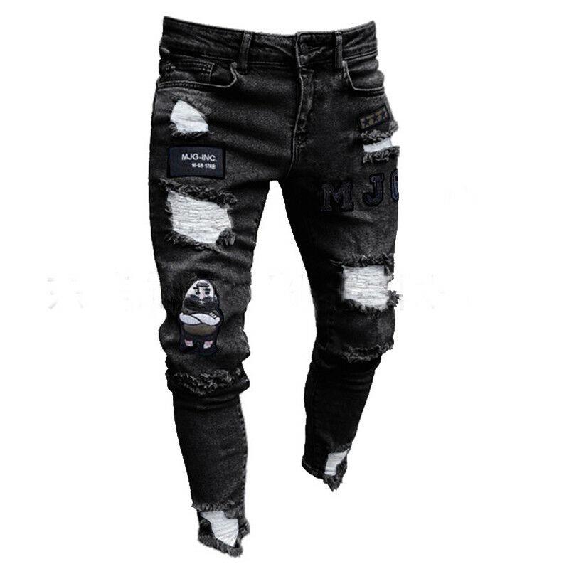 Fashion Men Ripped Skinny Jeans Destroyed Frayed Slim Fit Denim Trousers Pants Super Skinny Slim Denim Pants Destroyed Trousers