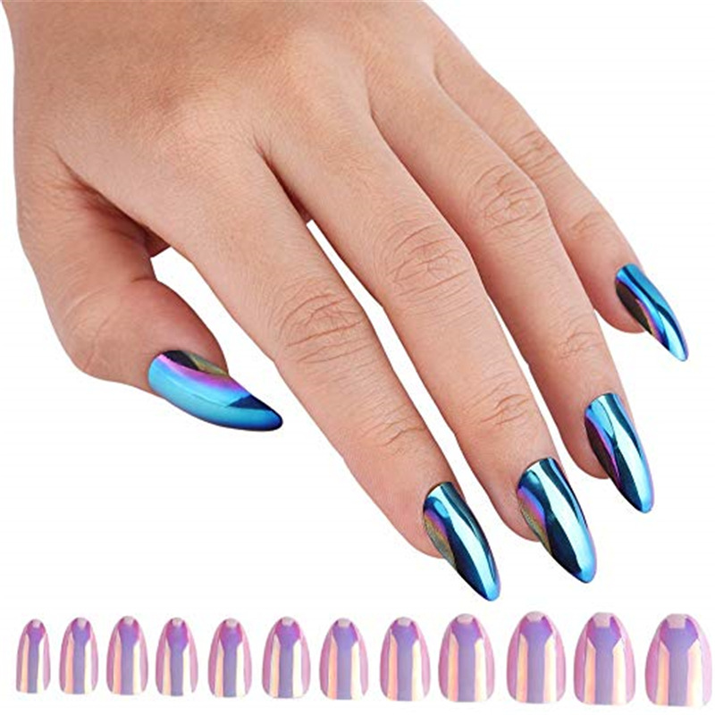 Hot Sales Symphony Beauty Nail Tip 24 Metal Textured Nail Sticker Mirror Bright Fake Nails Finished Product Pointed-Toe Wear Nai